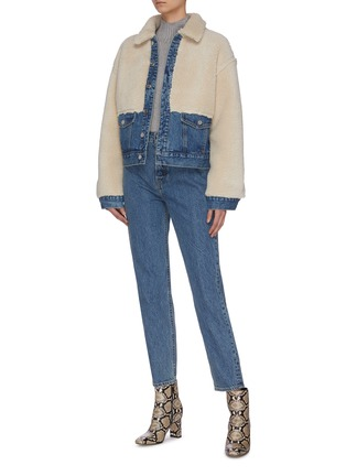 Figure View - Click To Enlarge - GRLFRND - 'Miya' shearling panel denim jacket
