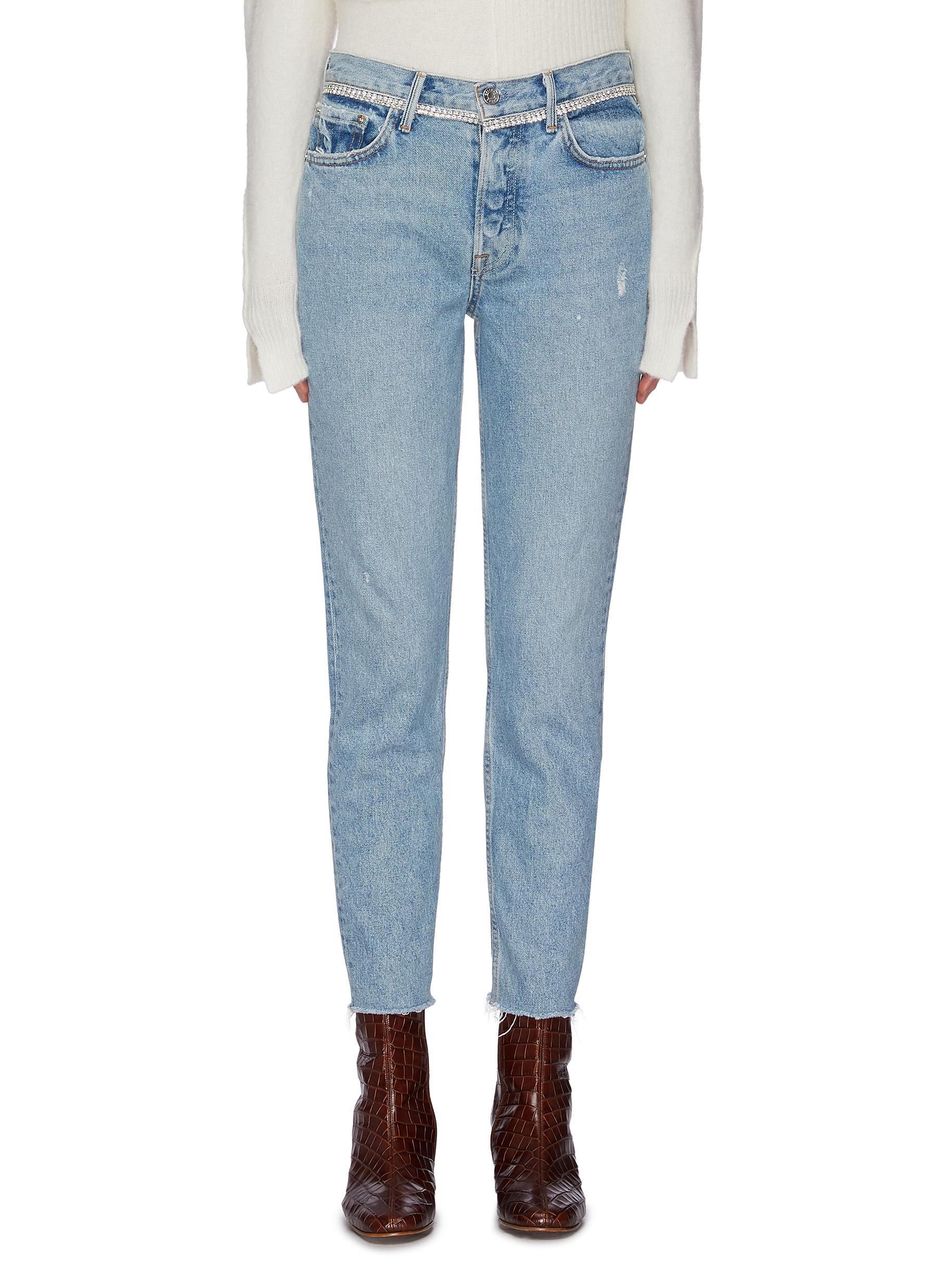 Buy Grlfrnd Jeans 'Karolina' diamanté waist frayed cuff cropped jeans
