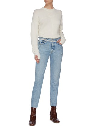 Figure View - Click To Enlarge - GRLFRND - 'Karolina' diamanté waist frayed cuff cropped jeans