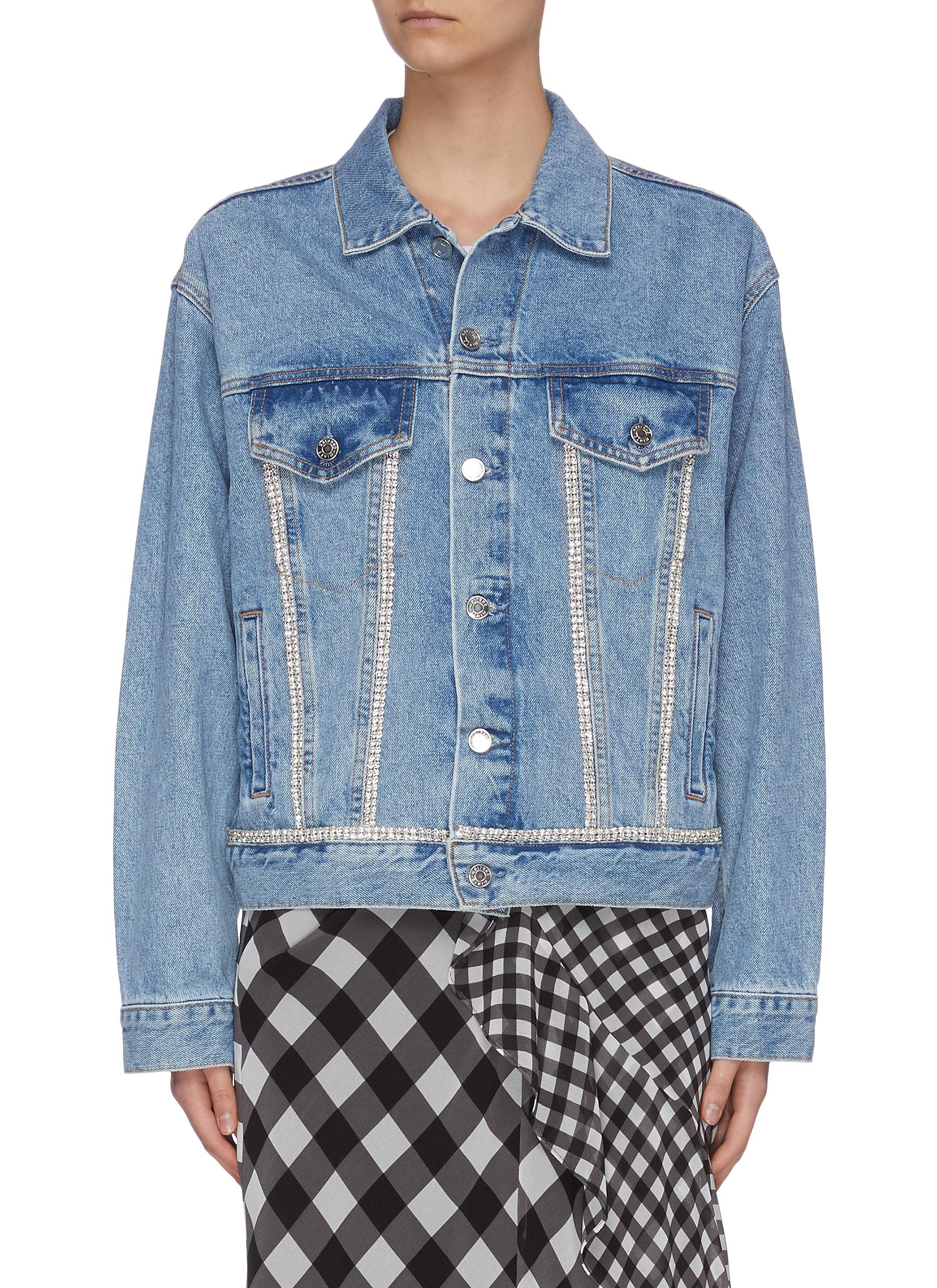 Buy Grlfrnd Jackets 'Kim' diamanté seam denim jacket