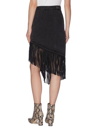 Back View - Click To Enlarge - GRLFRND - 'Indira' fringe wrap denim midi skirt