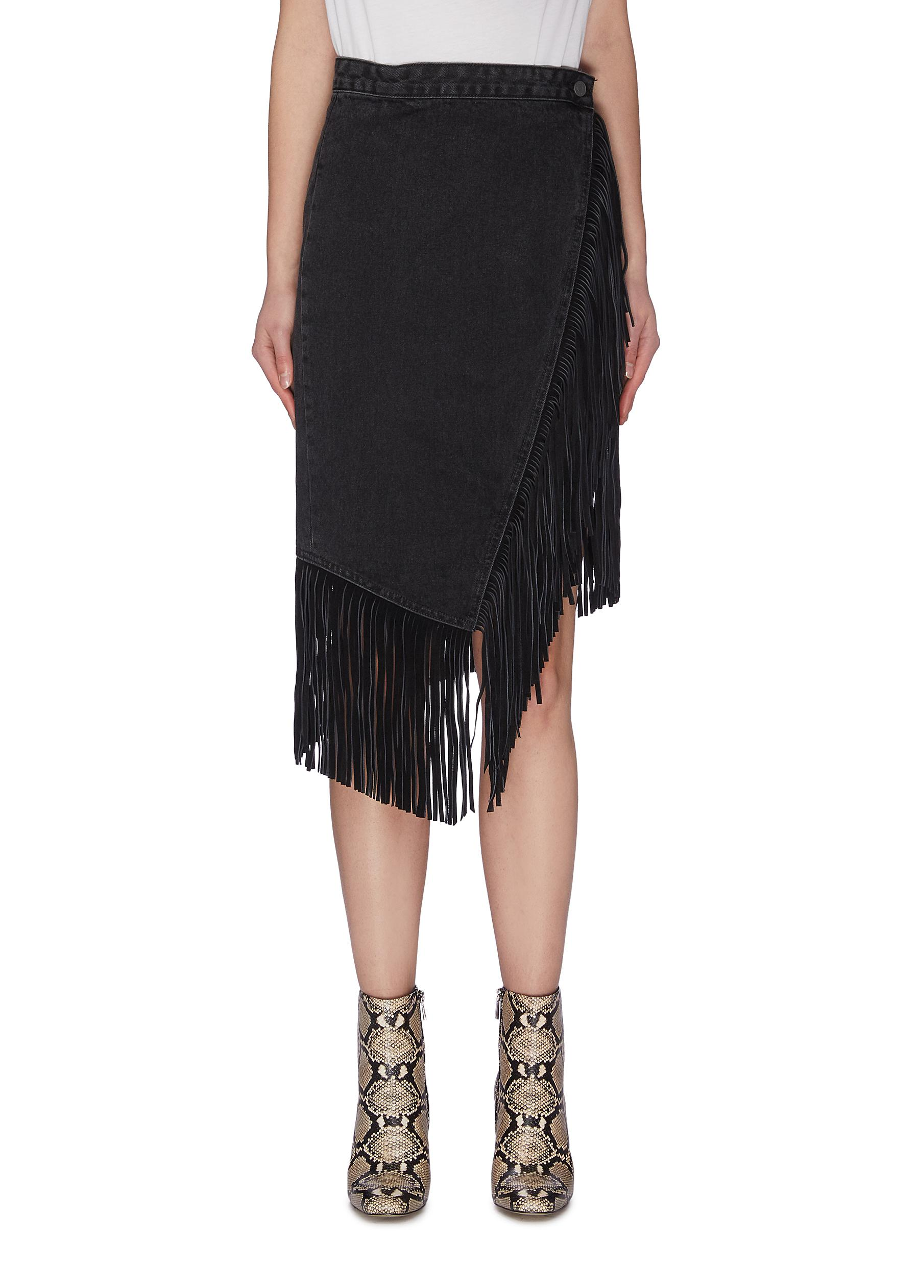 Buy Grlfrnd Skirts 'Indira' fringe wrap denim midi skirt