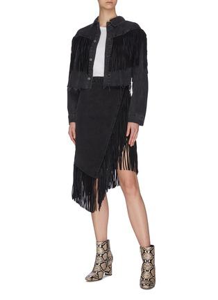 Figure View - Click To Enlarge - GRLFRND - 'Indira' fringe wrap denim midi skirt