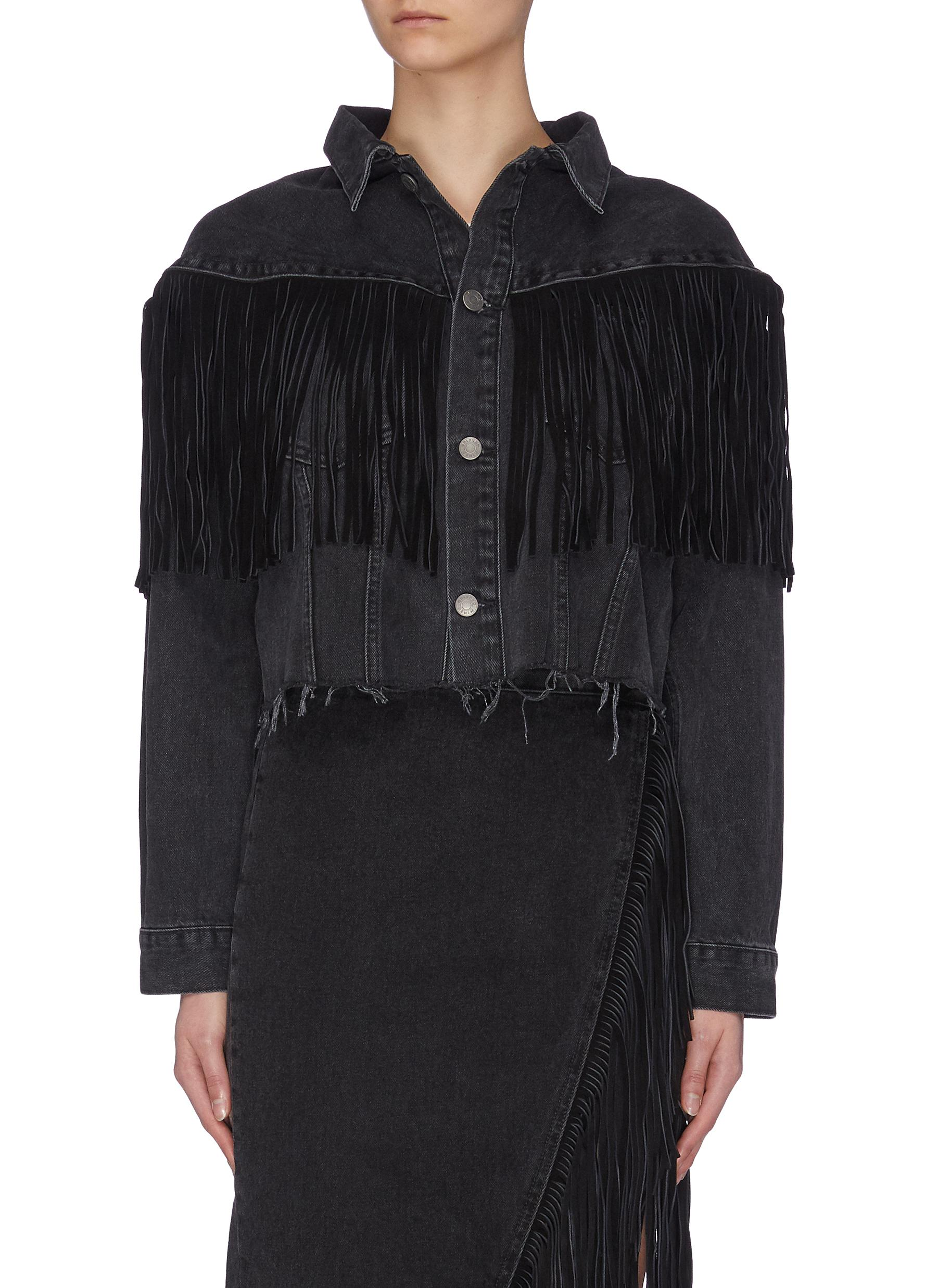 Buy Grlfrnd Jackets 'Freya' fringe crop jacket