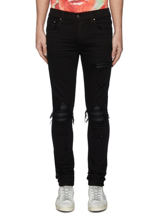 Main View - Click To Enlarge - AMIRI - 'MX1' pleated leather patch skinny jeans