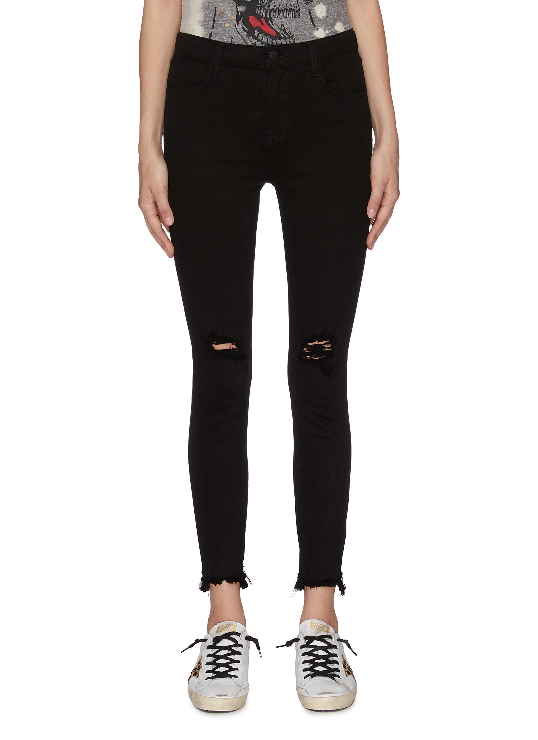 shop J Brand Alana ripped knee cropped skinny pants online