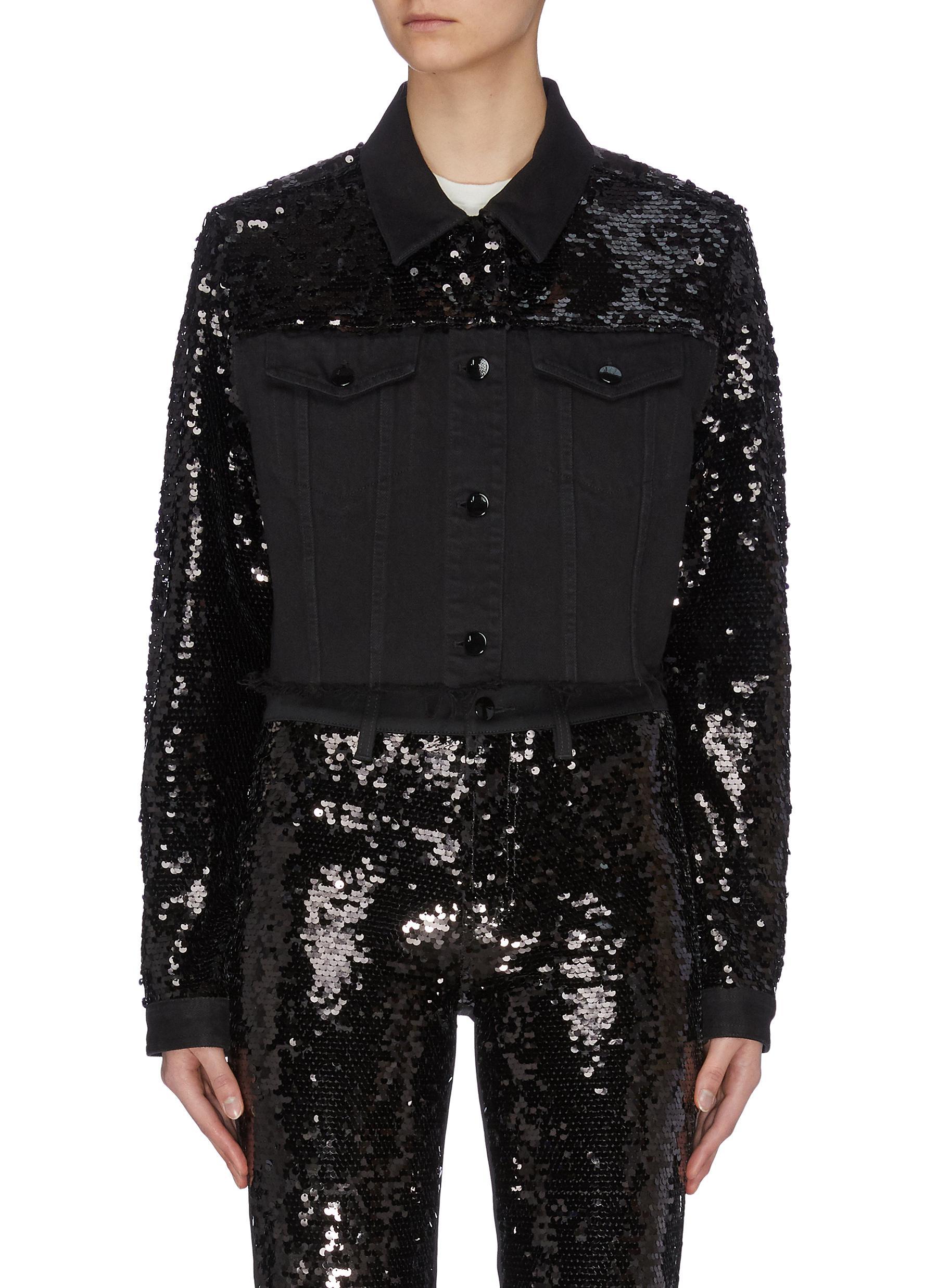 shop J Brand 'Cyra' sequin embellished cropped jacket online