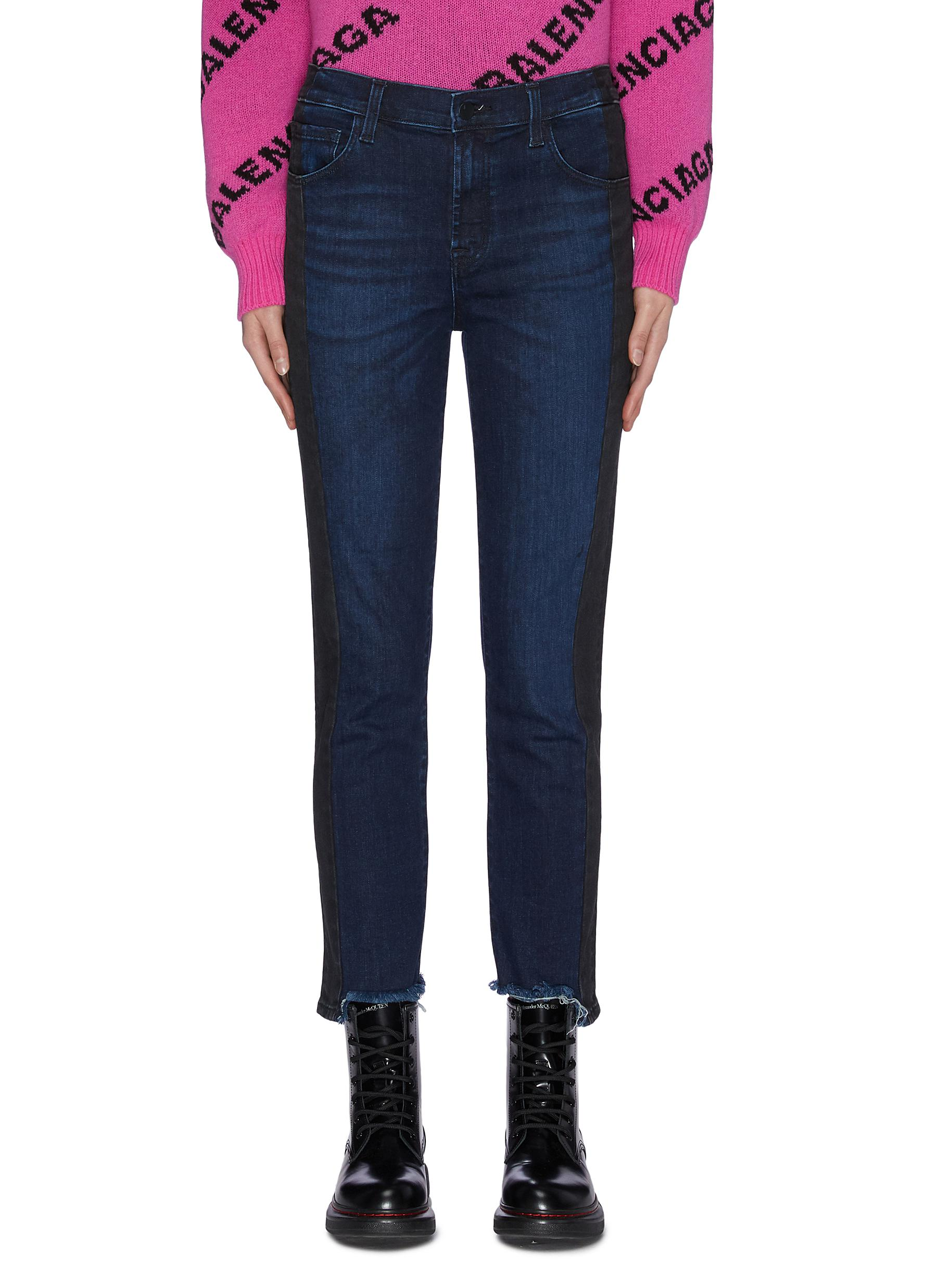 shop J Brand 'Ruby' contrast outseam cigarette frayed cuff cropped jeans online
