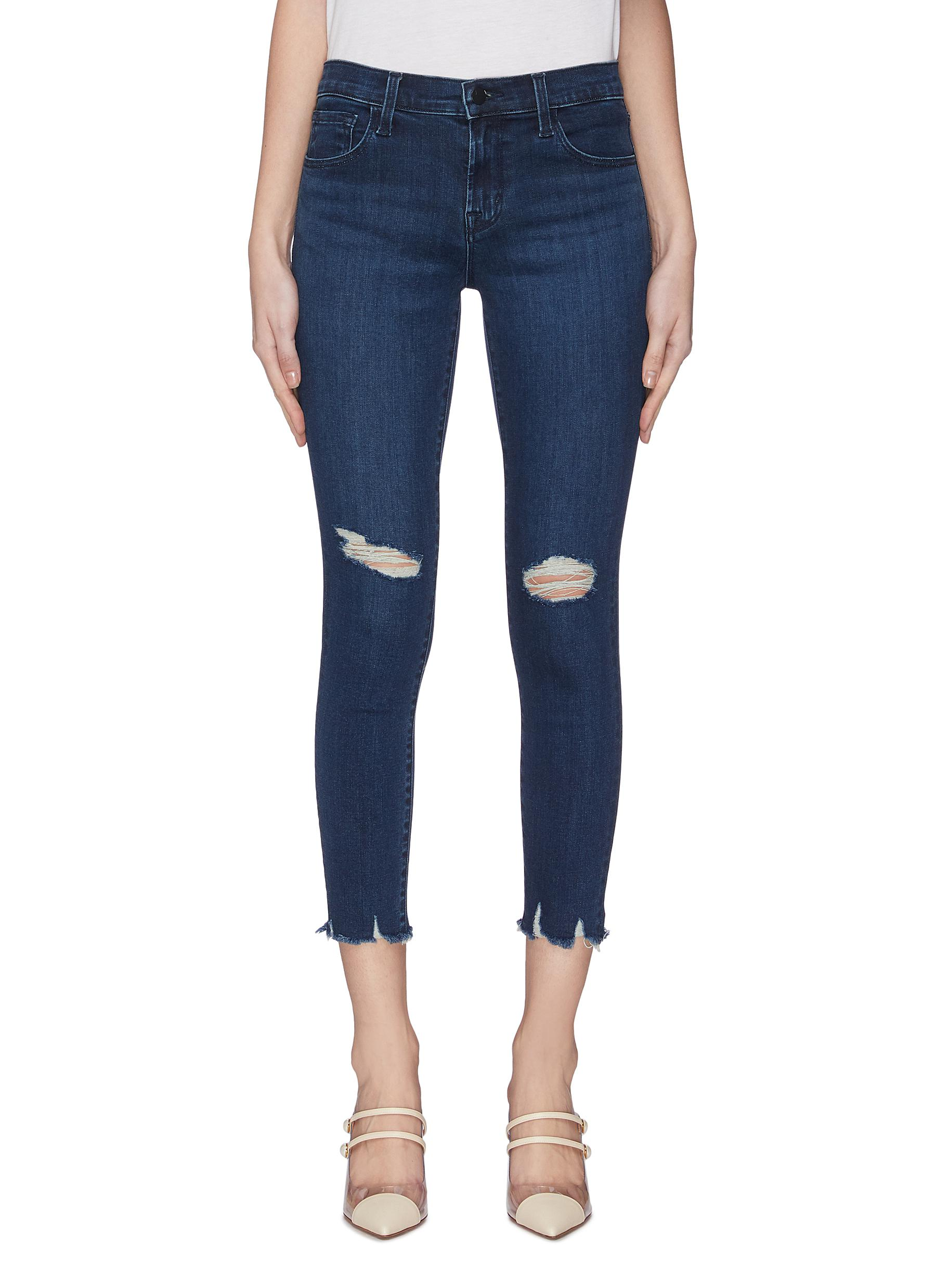 shop J Brand Ripped knee frayed cuff cropped boot cut skinny jeans online