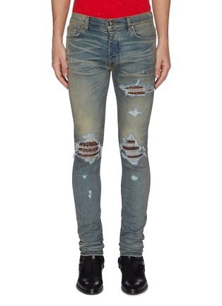 Main View - Click To Enlarge - AMIRI - 'MX1' leopard print patch ripped skinny jeans