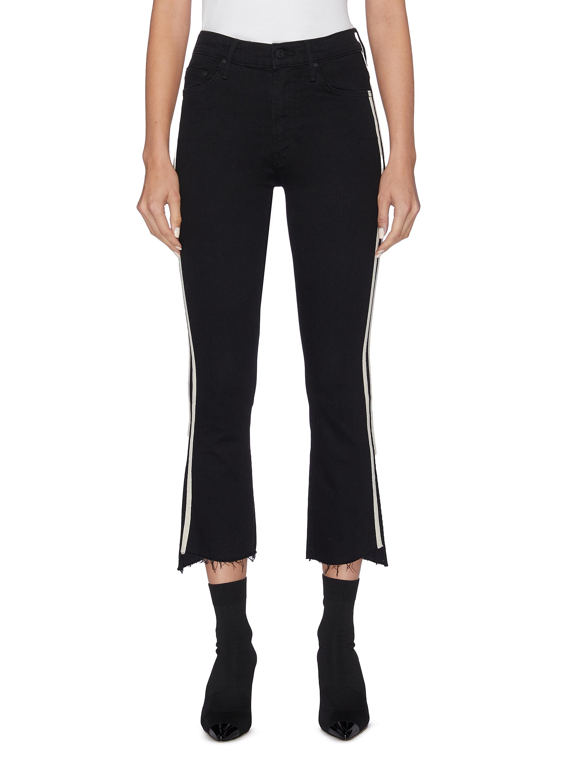 The Insider Crop Step Fray stripe outseam jeans by Mother