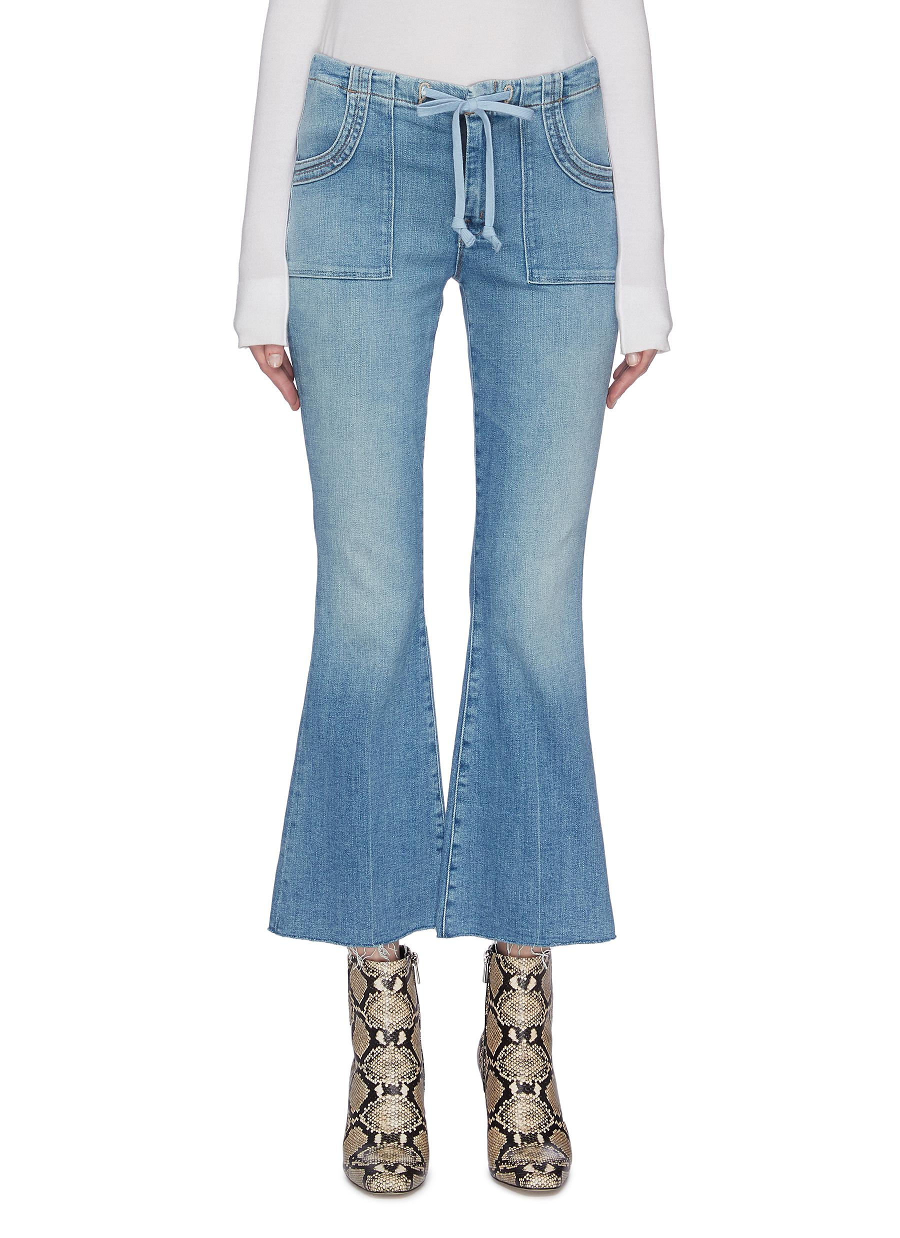shop Mother 'Tie Patch Weekender Ankle Fray' Flared Jeans online