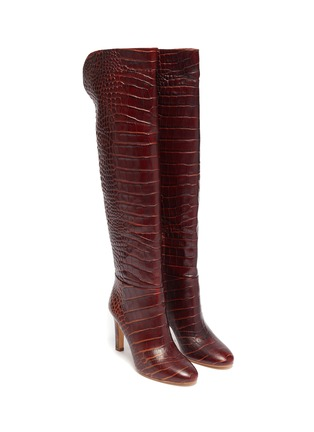 Detail View - Click To Enlarge - GABRIELA HEARST - Croc embossed leather boots