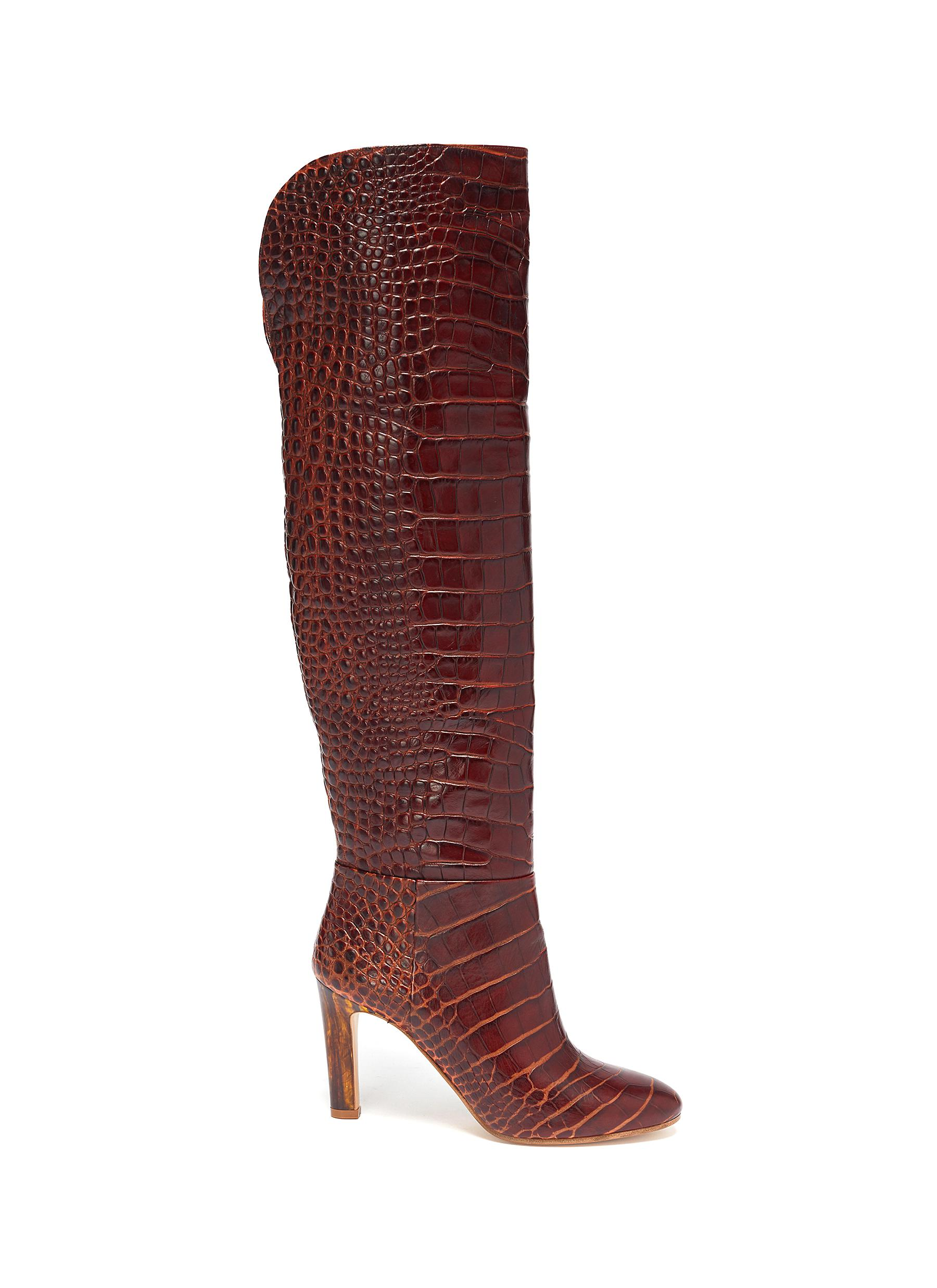 Croc embossed leather boots by Gabriela Hearst