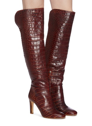 Figure View - Click To Enlarge - GABRIELA HEARST - Croc embossed leather boots