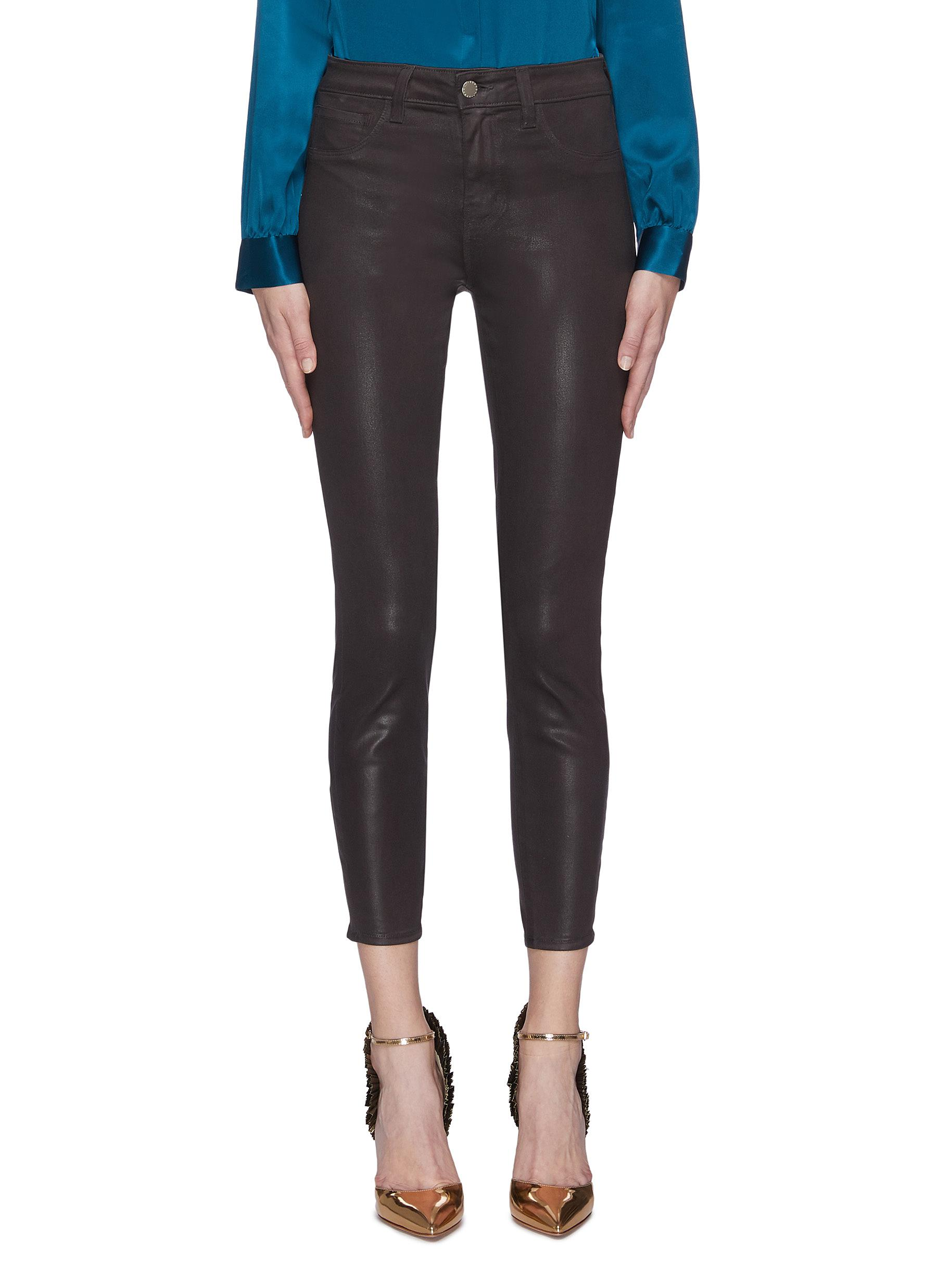 Buy L'Agence Jeans 'Margot' coated cropped skinny jeans