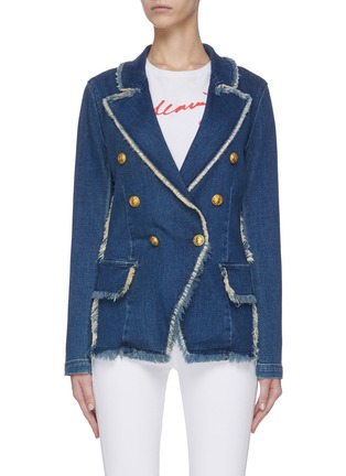 Main View - Click To Enlarge - L'AGENCE - 'Kaydence' frayed double breasted denim blazer