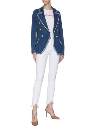 Figure View - Click To Enlarge - L'AGENCE - 'Kaydence' frayed double breasted denim blazer