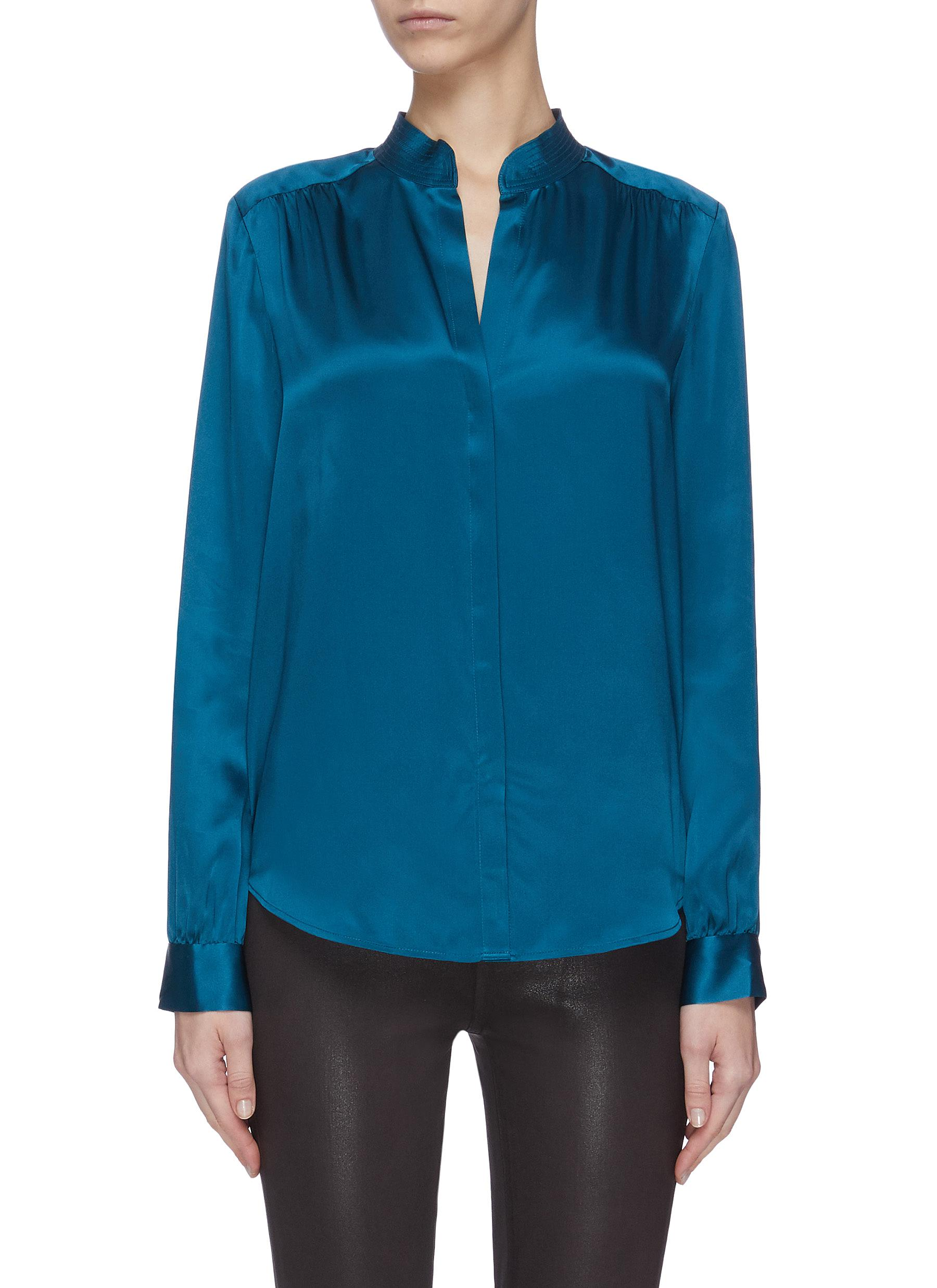 Buy L'Agence Tops 'Bianca' band collar silk blouse
