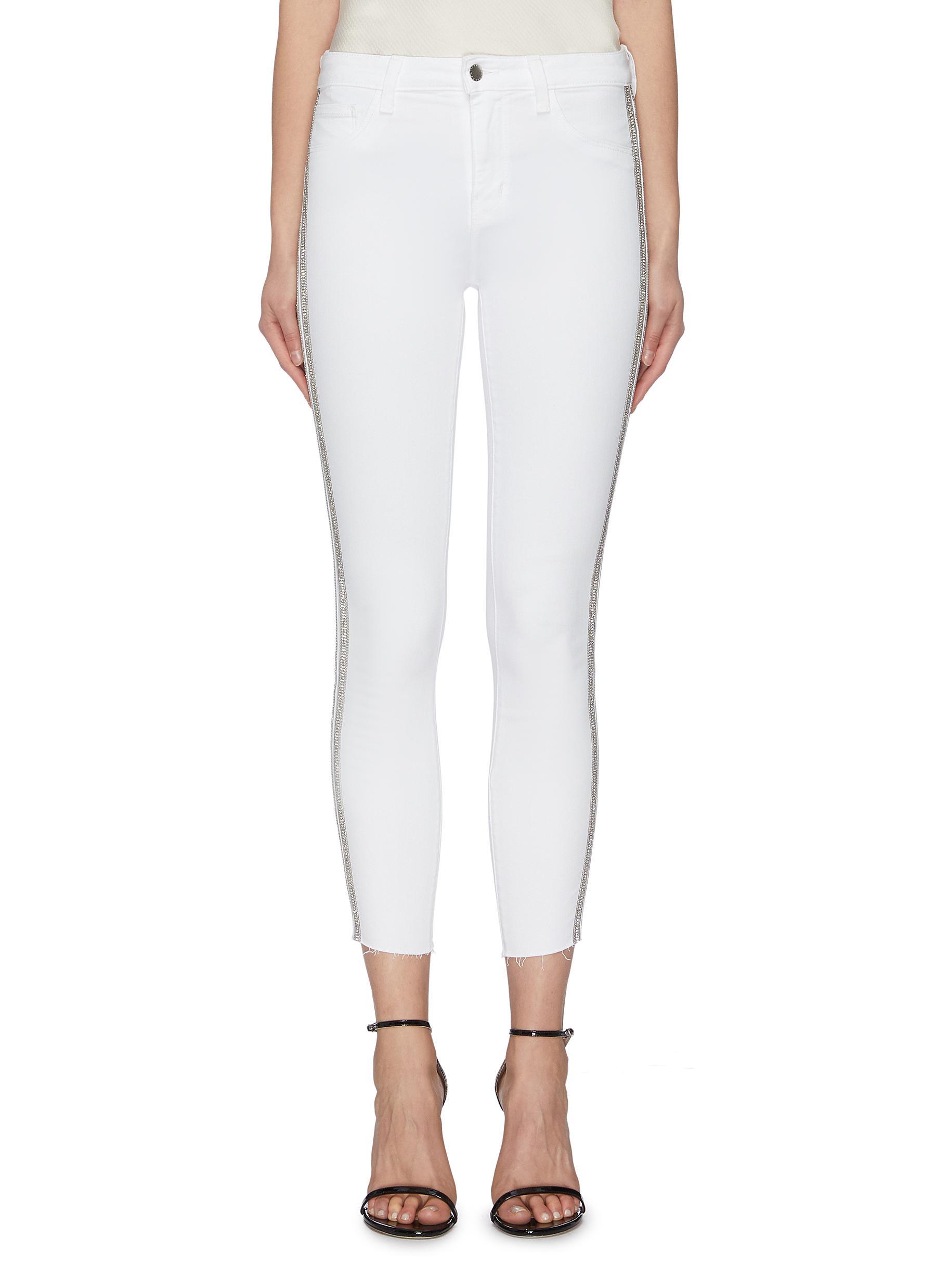 shop L'Agence 'Margot' embellished tuxedo stripe skinny jeans online