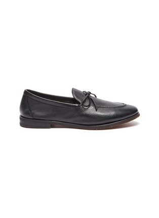 Main View - Click To Enlarge - HENDERSON - Latex tie leather loafers