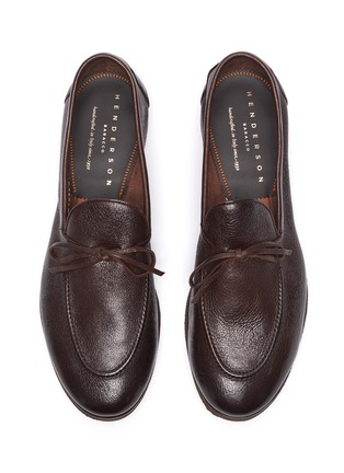 Detail View - Click To Enlarge - HENDERSON - Latex tie leather loafers