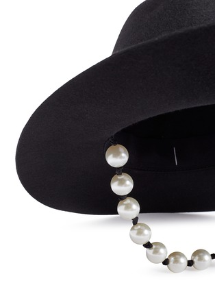 Detail View - Click To Enlarge - MAISON MICHEL - 'Rico' faux pearl string felt hat