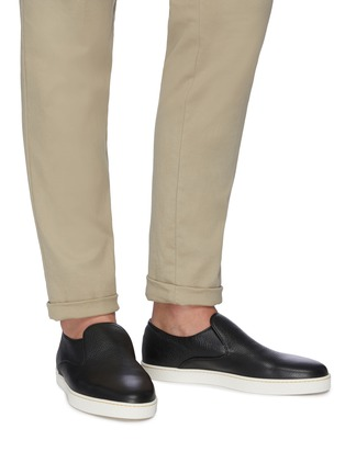 Figure View - Click To Enlarge - JOHN LOBB - 'Haven' grainy leather slip-ons