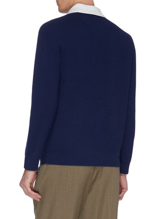 Back View - Click To Enlarge - DREYDEN - 'Dean' insert collar rib knit cashmere sweater
