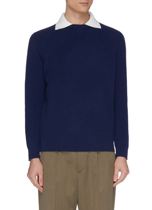 Main View - Click To Enlarge - DREYDEN - 'Dean' insert collar rib knit cashmere sweater