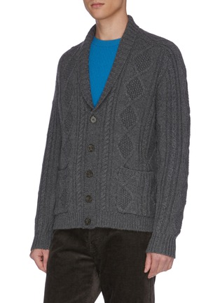 Detail View - Click To Enlarge - DREYDEN - 'The Capital' shawl collar cable knit cashmere cardigan