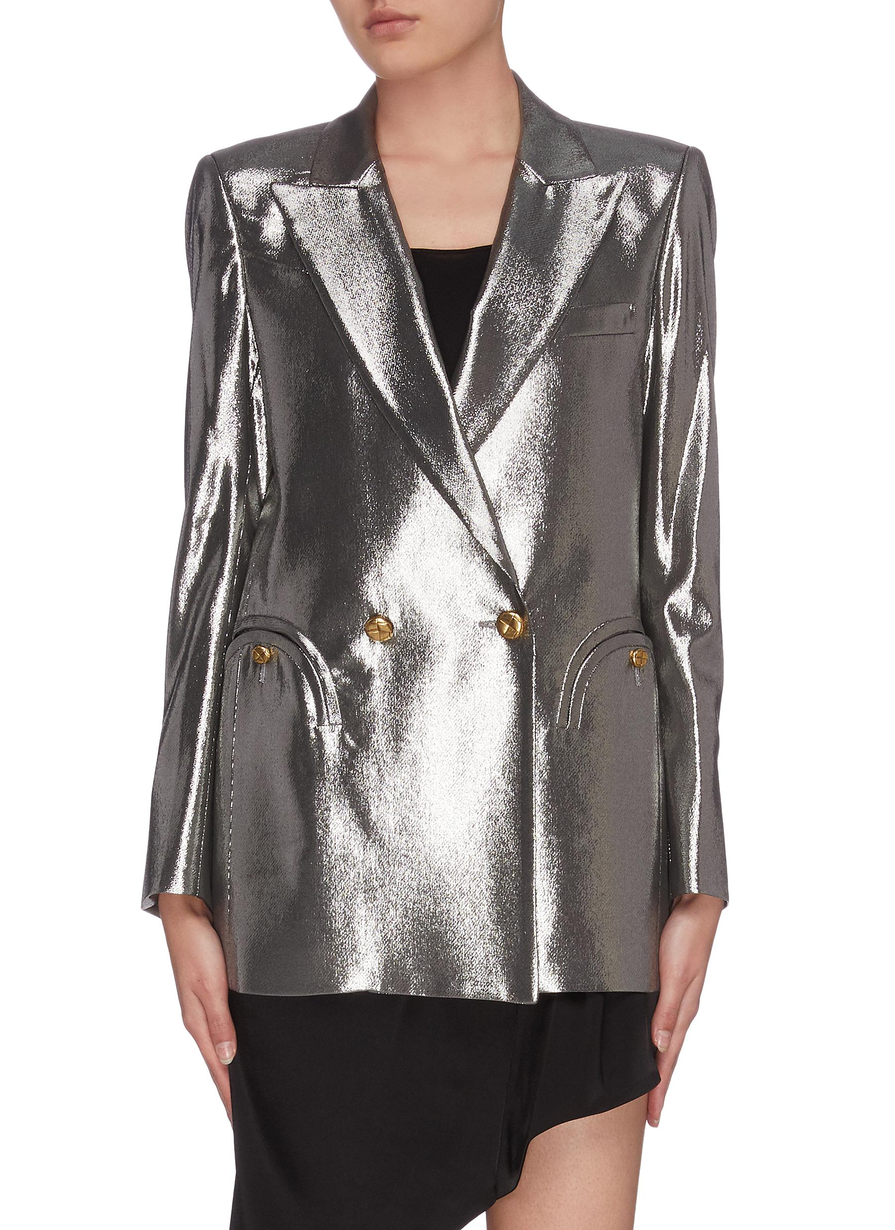 shop Blazé Milano 'Jalil' metallic double breasted blazer online