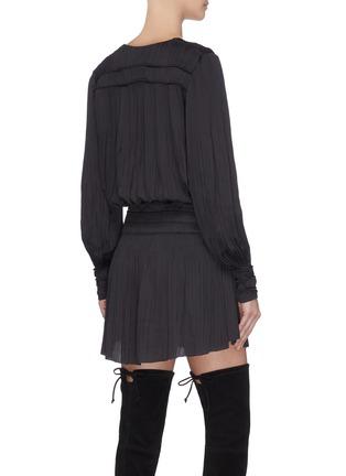Back View - Click To Enlarge - FRAME DENIM - V-neck balloon sleeve plissé pleated dress