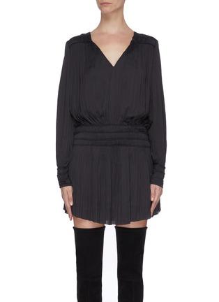 Main View - Click To Enlarge - FRAME DENIM - V-neck balloon sleeve plissé pleated dress