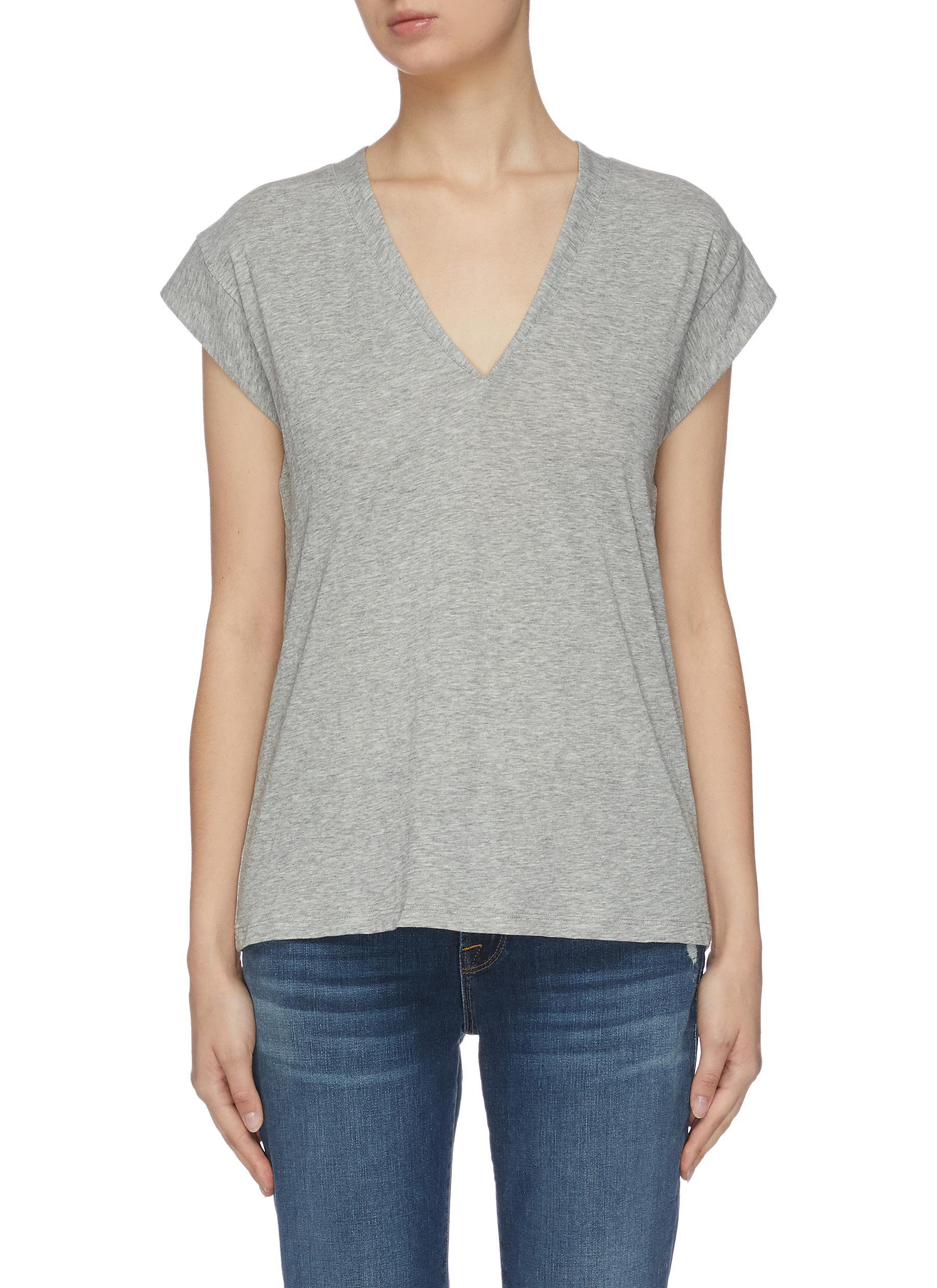 shop Frame Denim Mid rise V neck T-shirt online