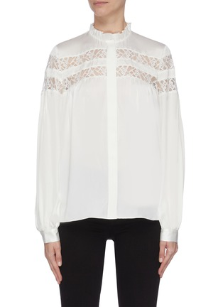 Main View - Click To Enlarge - FRAME DENIM - Panelled lace ruffle collar blouse