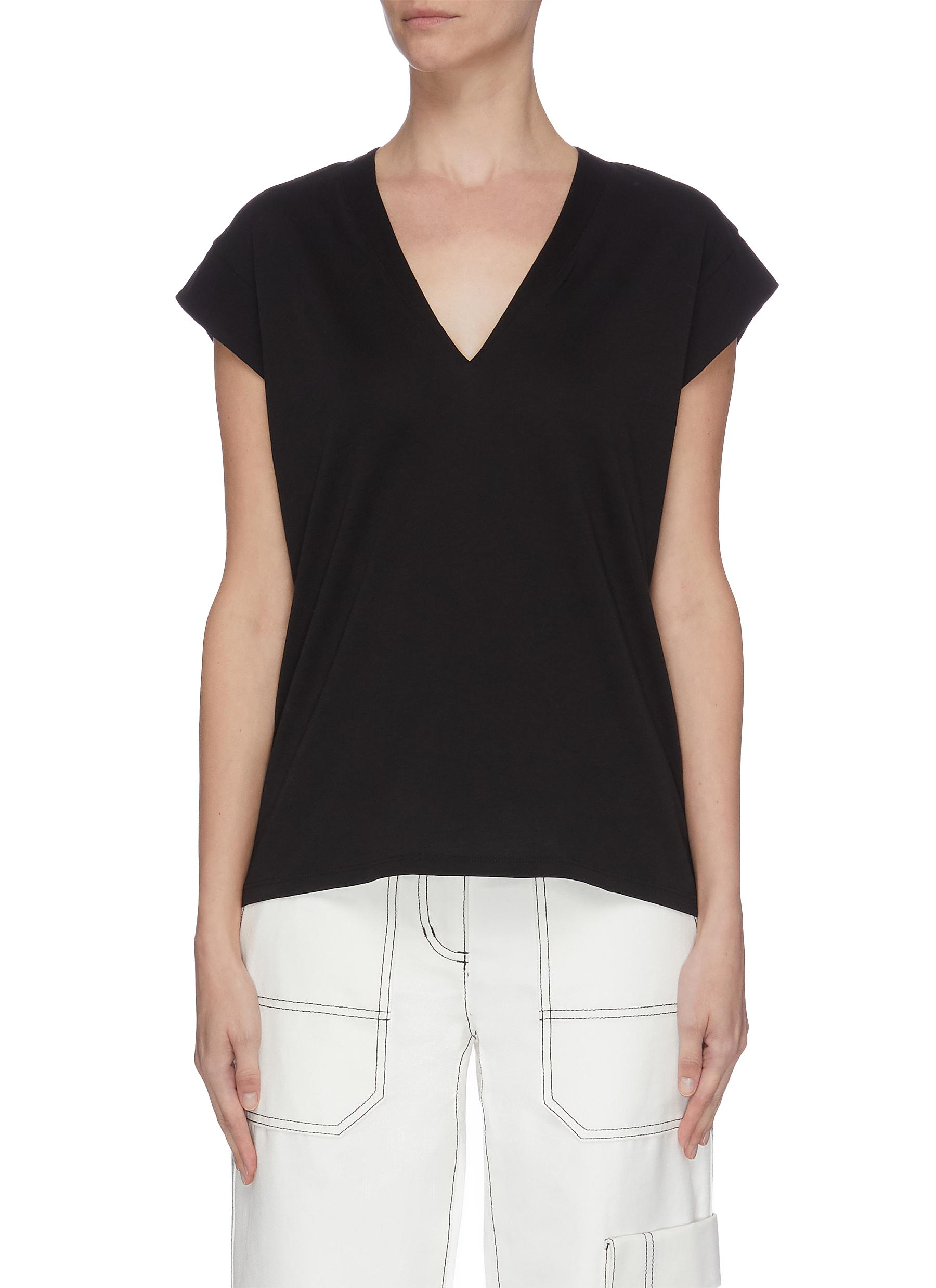 Buy Frame Denim Tops 'Le Mid Rise' peak shoulder T-shirt