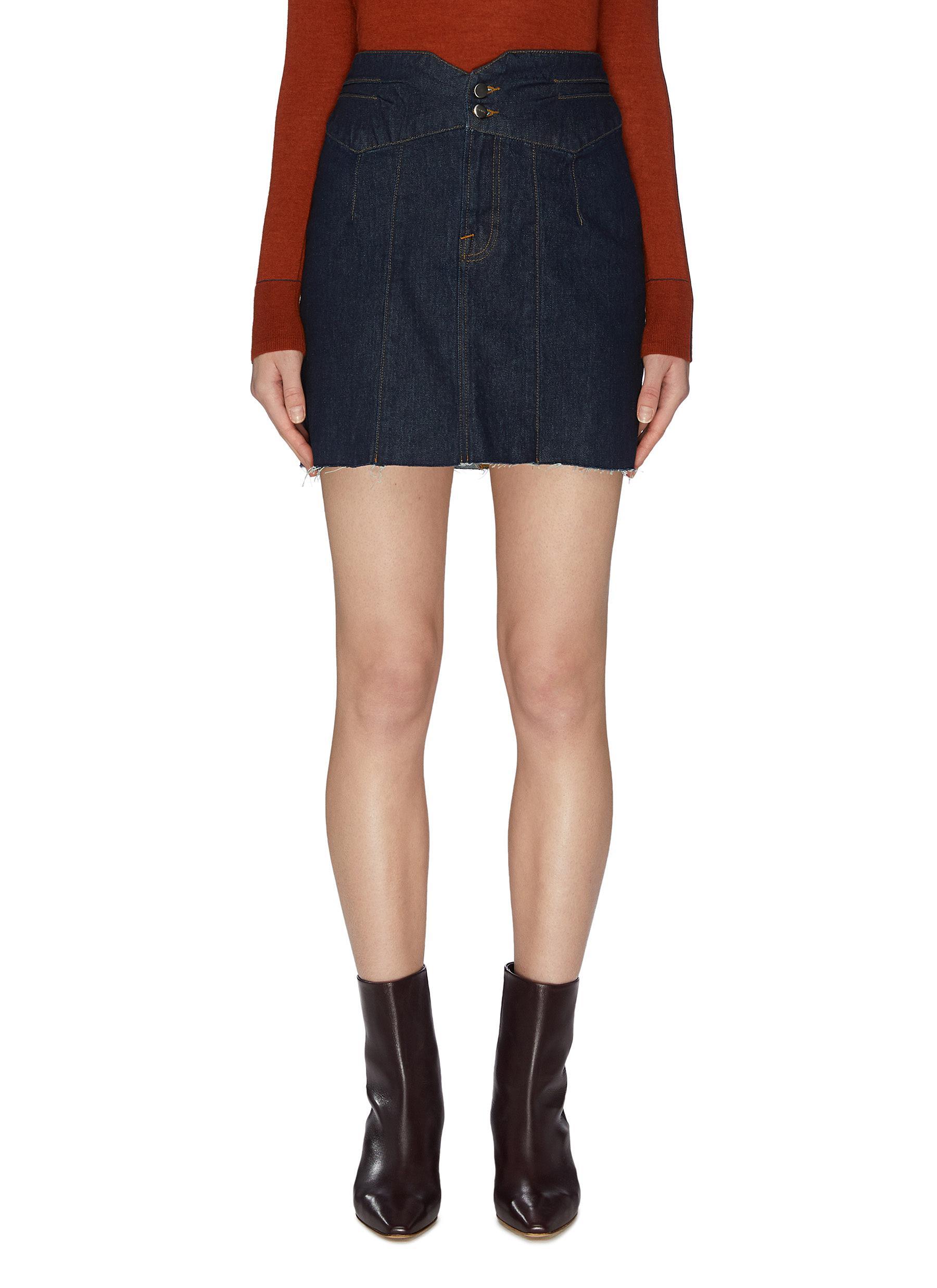 shop Frame Denim Tux waist distressed hem denim mini skirt online
