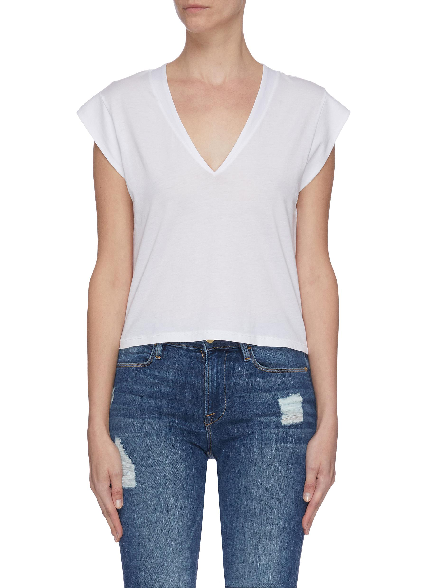 Buy Frame Denim Tops 'Le High Rise' V-neck T-shirt