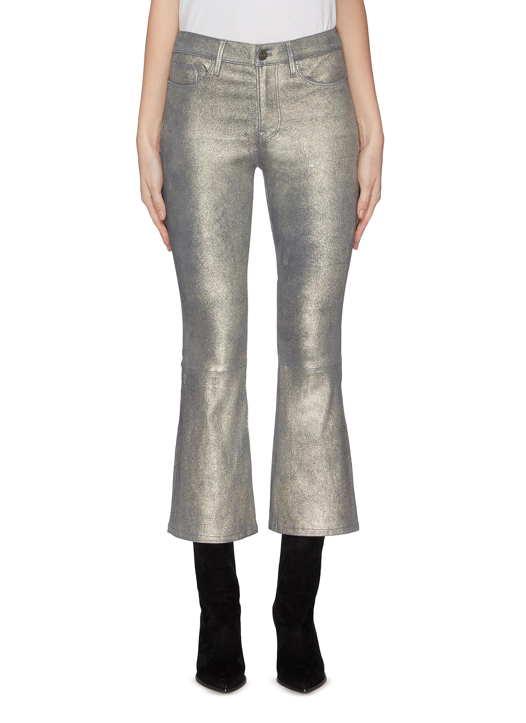 Buy Frame Denim Jeans 'Le Crop' leather flared jeans