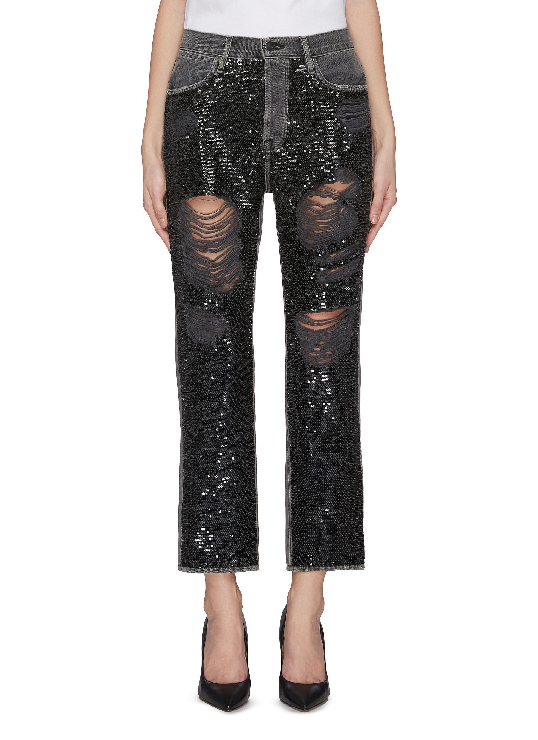 shop Frame Denim Sequin embellished heavy distressed jeans online
