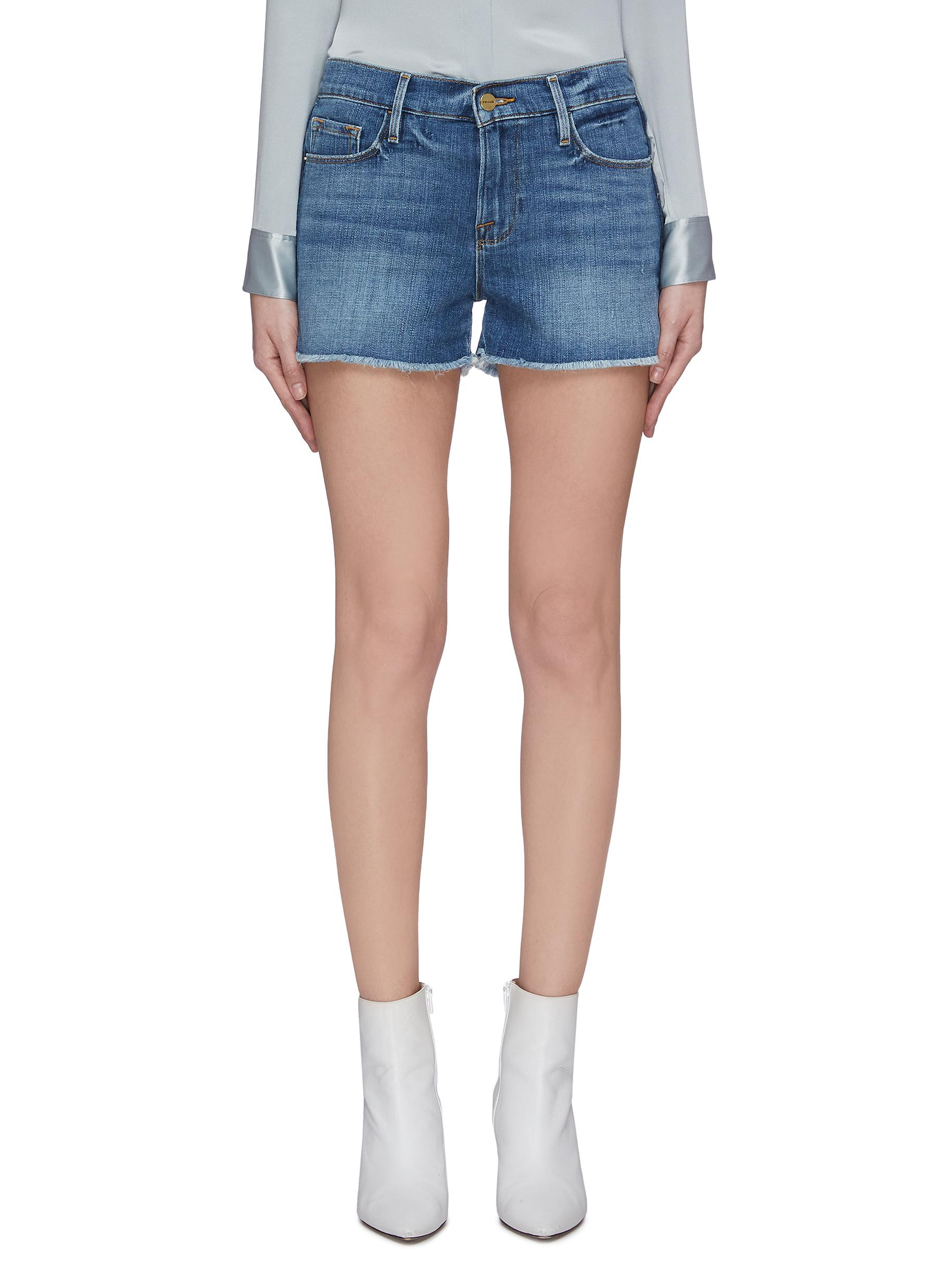Buy Frame Denim Jeans 'Le Cut Off' released hem stripe outseam denim shorts