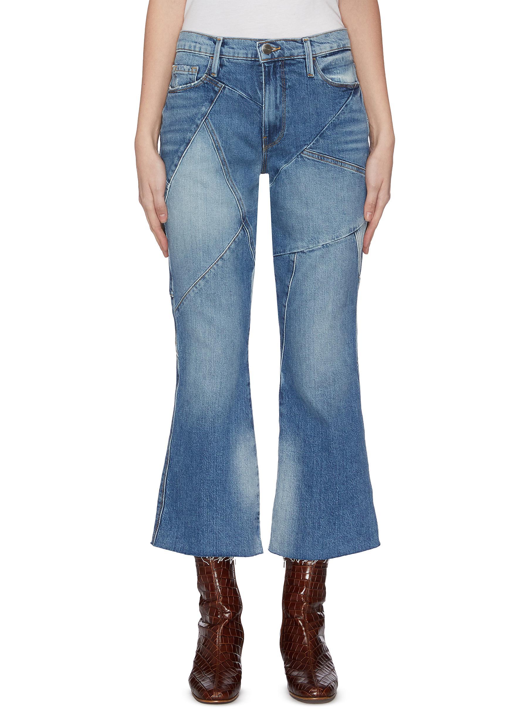 shop Frame Denim 'Le Sylvie' patchwork flared jeans online