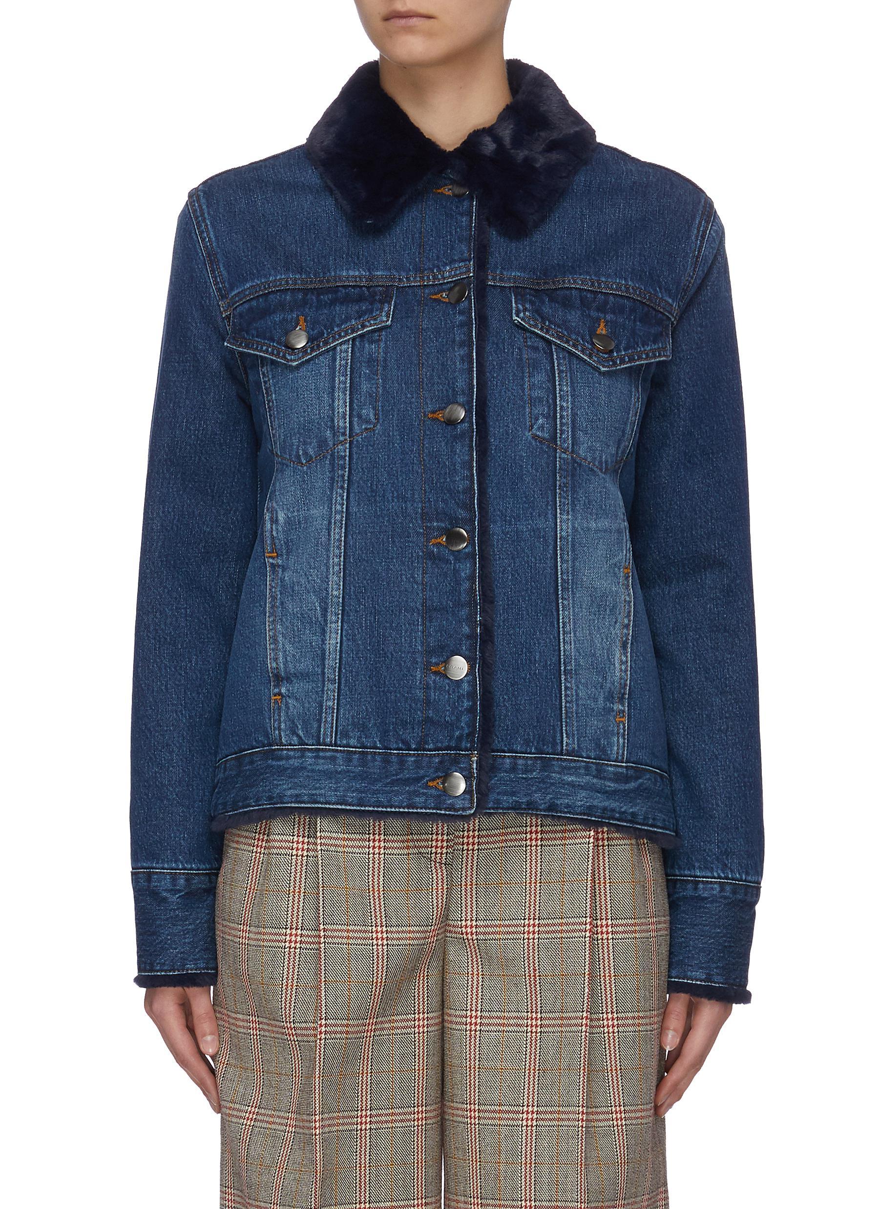 shop Frame Denim Faux fur lined denim jacket online