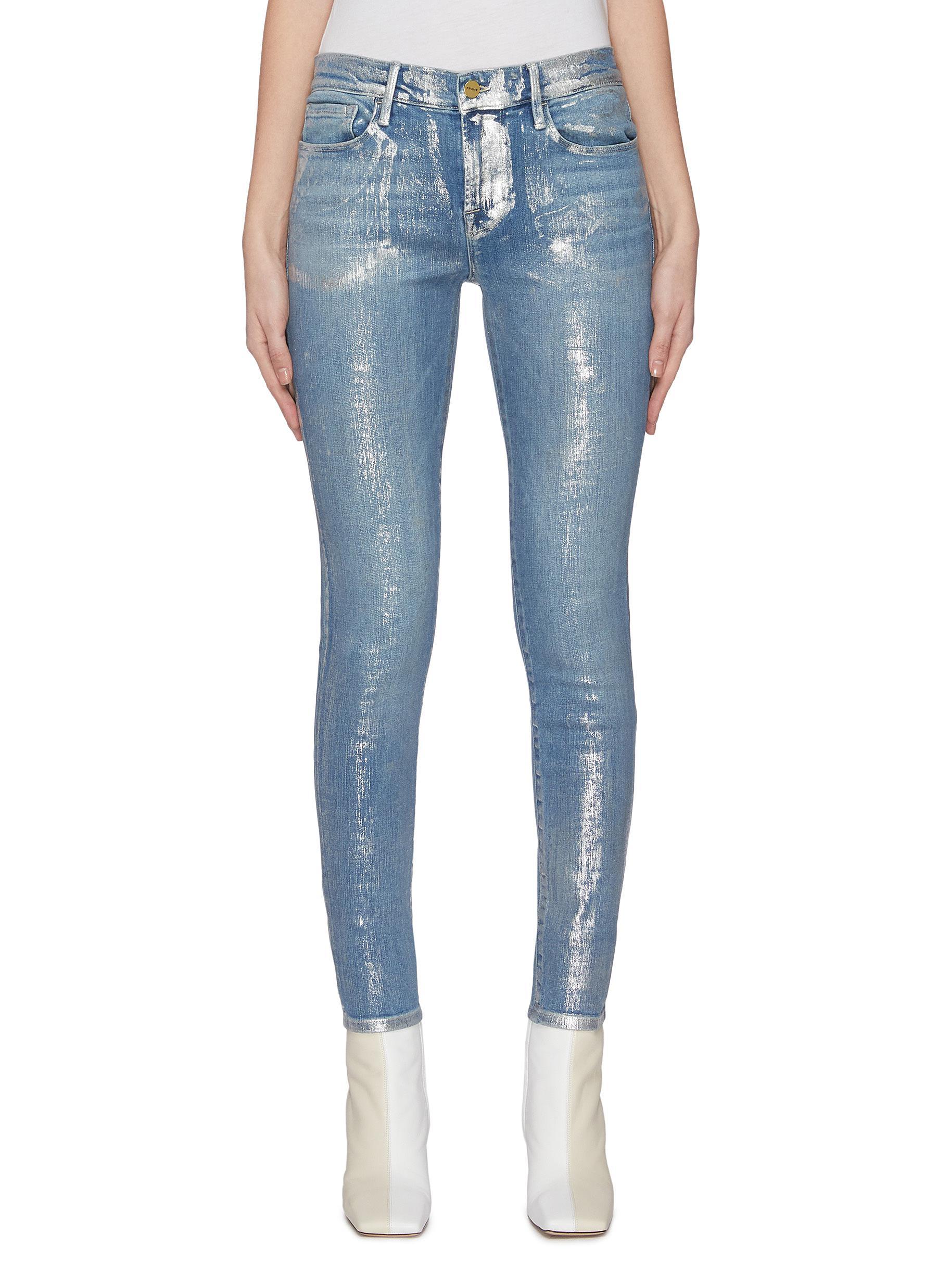 shop Frame Denim 'Le Skinny De Jeanne' foil skinny jeans online