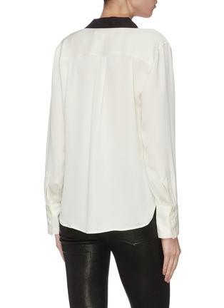 Back View - Click To Enlarge - FRAME DENIM - Tuxedo notch collar silk blouse