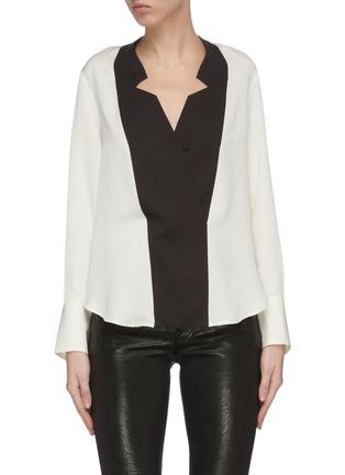 Main View - Click To Enlarge - FRAME DENIM - Tuxedo notch collar silk blouse
