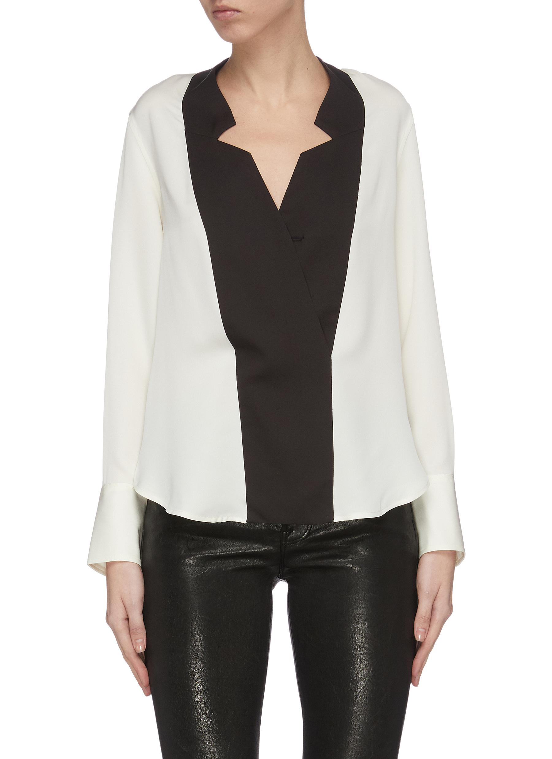 Buy Frame Denim Tops Tuxedo notch collar silk blouse