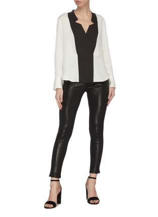 Figure View - Click To Enlarge - FRAME DENIM - Tuxedo notch collar silk blouse