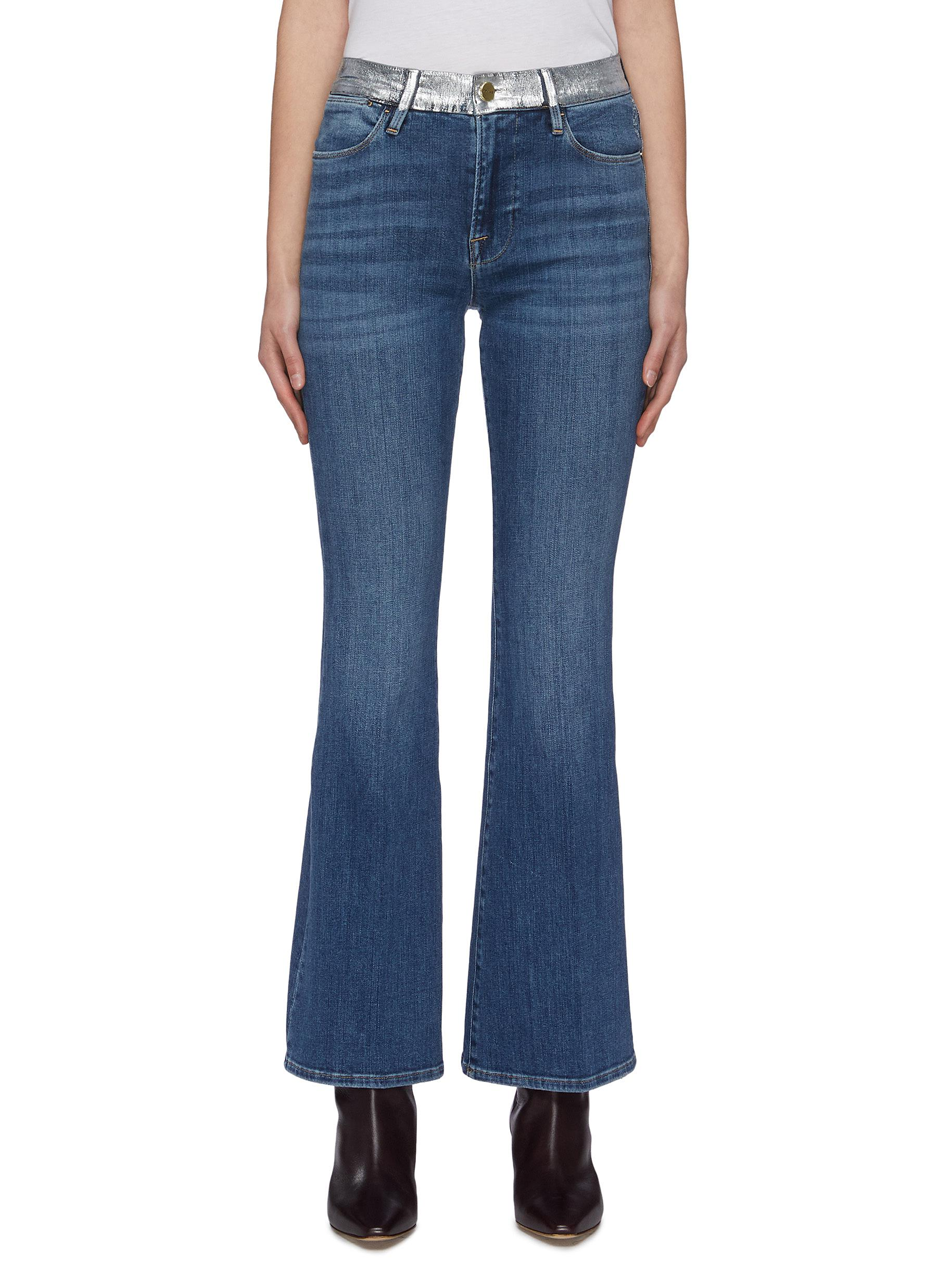 Buy Frame Denim Jeans 'Le Pixie High Flare' panel waistband jeans